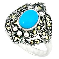 Blue sleeping beauty turquoise marcasite 925 silver ring size 7.5 c16338