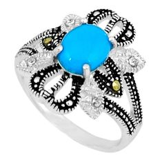 Blue sleeping beauty turquoise marcasite 925 silver ring size 5.5 c17625