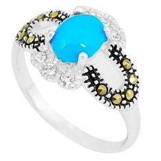 Blue sleeping beauty turquoise marcasite 925 silver ring size 6.5 c17576