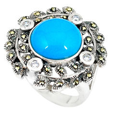 Blue sleeping beauty turquoise marcasite 925 silver ring size 6.5 c17392