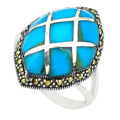 Blue sleeping beauty turquoise marcasite 925 silver ring size 6.5 c17598