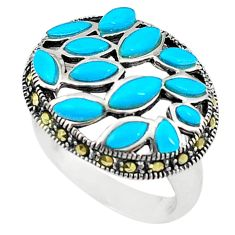 Blue sleeping beauty turquoise marcasite 925 silver ring size 5.5 c17596