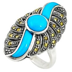 Blue sleeping beauty turquoise marcasite 925 silver ring size 5.5 c16413