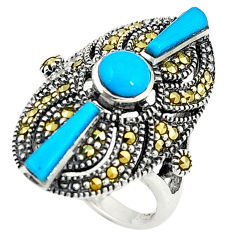 Blue sleeping beauty turquoise marcasite 925 silver ring size 6.5 c16410