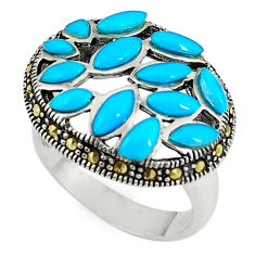 Blue sleeping beauty turquoise marcasite 925 silver ring size 5.5 c17584