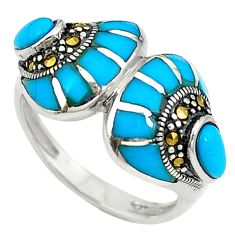 Blue sleeping beauty turquoise marcasite 925 silver ring size 7.5 c17615