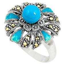 Blue sleeping beauty turquoise marcasite 925 silver ring size 7.5 a73712 c24877
