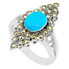 Blue sleeping beauty turquoise marcasite 925 silver ring size 7.5 c17476