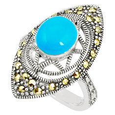 Blue sleeping beauty turquoise marcasite 925 silver ring size 6.5 c17403