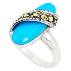 Blue sleeping beauty turquoise marcasite 925 silver ring size 6.5 c17457