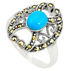 Blue sleeping beauty turquoise marcasite 925 silver ring size 7.5 c17351