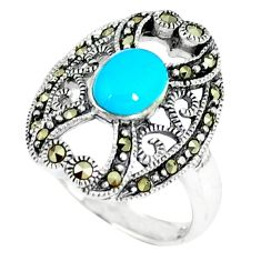 Blue sleeping beauty turquoise marcasite 925 silver ring size 6.5 c17354