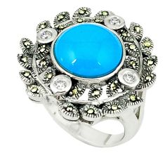 5.93cts blue sleeping beauty turquoise marcasite 925 silver ring size 7.5 c19878