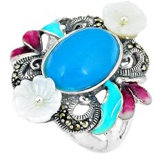 Blue sleeping beauty turquoise marcasite 925 silver ring size 6.5 c21502