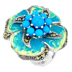 Blue sleeping beauty turquoise marcasite 925 silver ring size 5.5 c21513