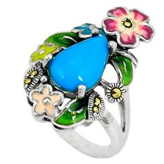 Blue sleeping beauty turquoise marcasite 925 silver ring size 5.5 c21517