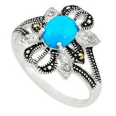 Blue sleeping beauty turquoise marcasite 925 silver ring size 8.5 c22067