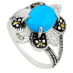 Blue sleeping beauty turquoise marcasite 925 silver ring size 5.5 c22075