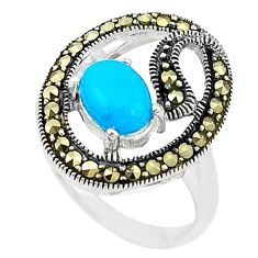 Blue sleeping beauty turquoise marcasite 925 silver ring size 6.5 c22077