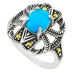 Blue sleeping beauty turquoise marcasite 925 silver ring size 6.5 c22079