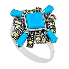 4.86cts blue sleeping beauty turquoise marcasite 925 silver ring size 6.5 c22903