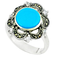 4.38cts blue sleeping beauty turquoise marcasite 925 silver ring size 7.5 c22905