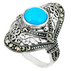 2.85cts blue sleeping beauty turquoise marcasite 925 silver ring size 6.5 c22906