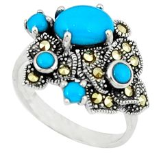 2.55cts blue sleeping beauty turquoise marcasite 925 silver ring size 6.5 c22919