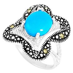 4.22cts blue sleeping beauty turquoise marcasite 925 silver ring size 5.5 c23639
