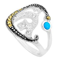 1.11cts blue sleeping beauty turquoise marcasite 925 silver ring size 6.5 c23663