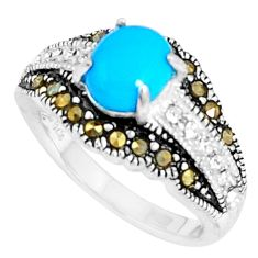 2.85cts blue sleeping beauty turquoise marcasite 925 silver ring size 5.5 c23678