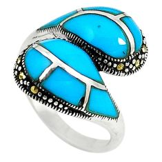 Blue sleeping beauty turquoise marcasite 925 silver ring size 6.5 c26141