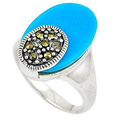 Blue sleeping beauty turquoise marcasite 925 silver ring jewelry size 6.5 c22911
