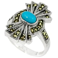 Blue sleeping beauty turquoise marcasite 925 silver ring jewelry size 6.5 c22970