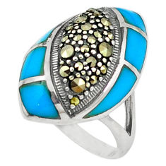 Blue sleeping beauty turquoise marcasite 925 silver ring jewelry size 7 c22915