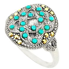 Blue sleeping beauty turquoise marcasite 925 silver ring size 5 c20796