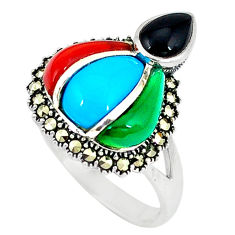 Blue sleeping beauty turquoise marcasite 925 silver ring size 6 c17585