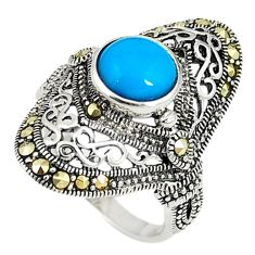 Blue sleeping beauty turquoise marcasite 925 silver ring size 6 c22356