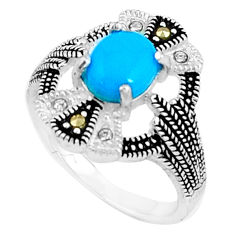 1.79cts blue sleeping beauty turquoise marcasite 925 silver ring size 6 c23653