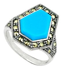 Blue sleeping beauty turquoise marcasite 925 silver ring jewelry size 7 c17479