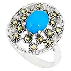 Blue sleeping beauty turquoise marcasite 925 silver ring size 7 c17422