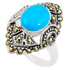 Blue sleeping beauty turquoise marcasite 925 silver ring size 7 c17387