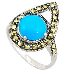 Blue sleeping beauty turquoise marcasite 925 silver ring size 7 c22066
