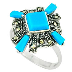 5.06cts blue sleeping beauty turquoise marcasite 925 silver ring size 7 c22902