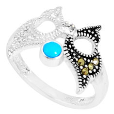 1.17cts blue sleeping beauty turquoise marcasite 925 silver ring size 7 c23670