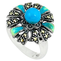 Blue sleeping beauty turquoise marcasite 925 silver ring size 8 c16377