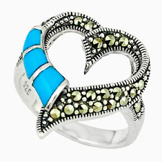 2.19cts blue sleeping beauty turquoise marcasite 925 silver ring size 8 c22917