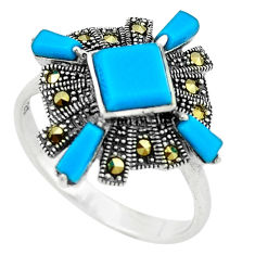 Blue sleeping beauty turquoise marcasite 925 silver ring size 9 c22901