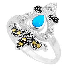 1.17cts blue sleeping beauty turquoise marcasite 925 silver ring size 9 c23643