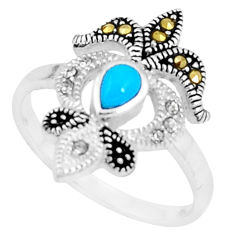 1.22cts blue sleeping beauty turquoise marcasite 925 silver ring size 9 c23675
